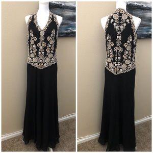J Kara Black Chiffon Beaded Evening Gown Dress